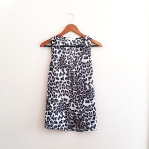 Daniel Rainn Snow Leopard Print Tank Top Blouse